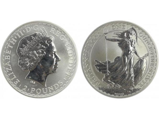 GB 2 Pfd. Silber Britannia 2002, 1 oz