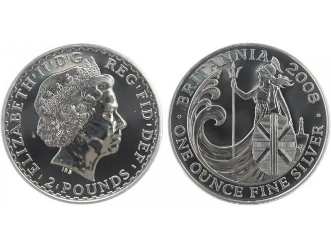 GB 2 Pfd. Silber Britannia 2008, 1 oz