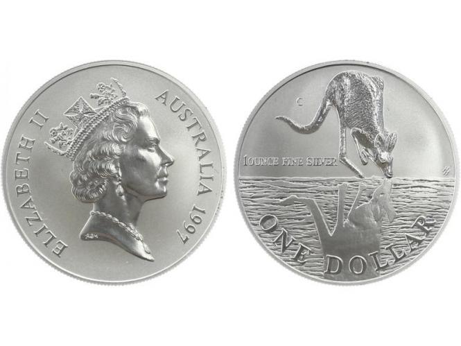 Australien 1$ Känguru 1997, 1 oz  Silber