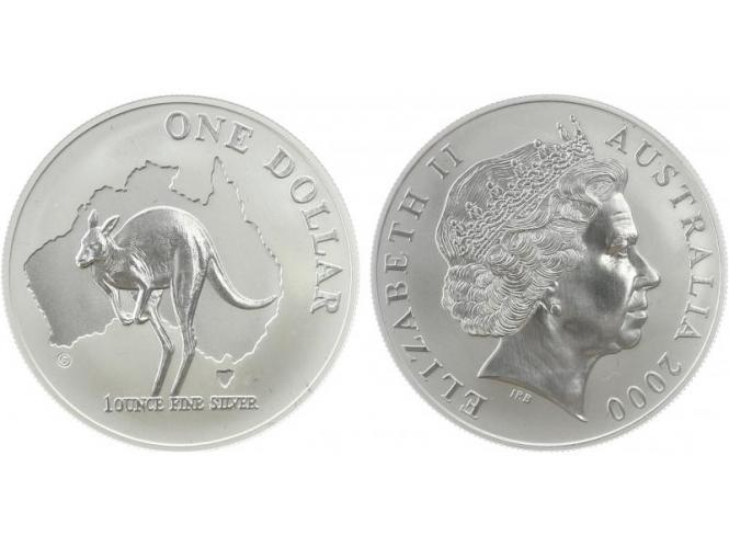 Australien 1$ Känguru 2000, 1 oz  Silber
