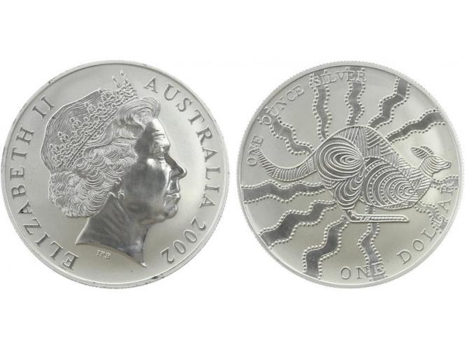 Australien 1$ Känguru 2002, 1 oz  Silber