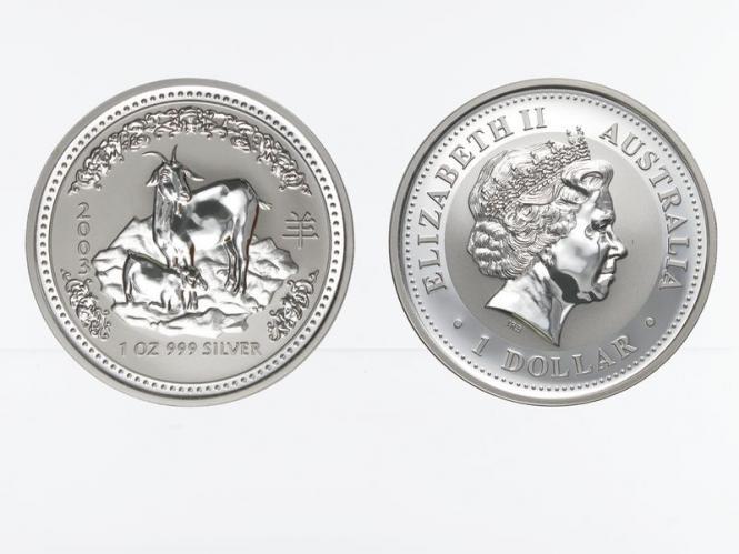 Australien 1 $ Ziege Lunar I  2003, 1 oz  Silber