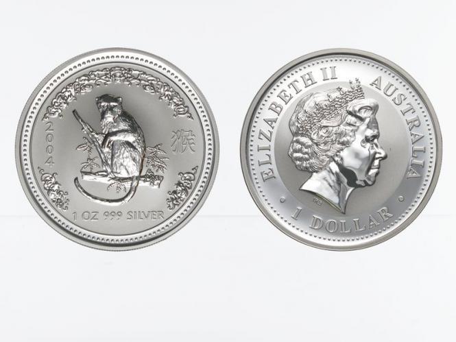 Australien 1 $ Affe Lunar I  2004, 1 oz  Silber