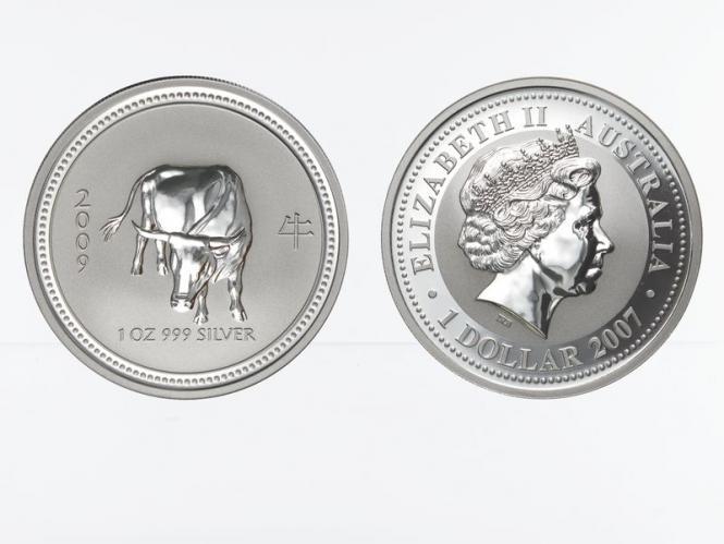 Australien 1 $ Ochse Lunar I  2009, 1 oz  Silber