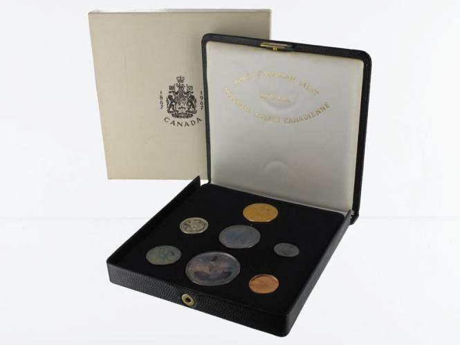 Kanada 100 J. Staatenbund 7 Münzen kpl. 1 Ct-20 Dollars