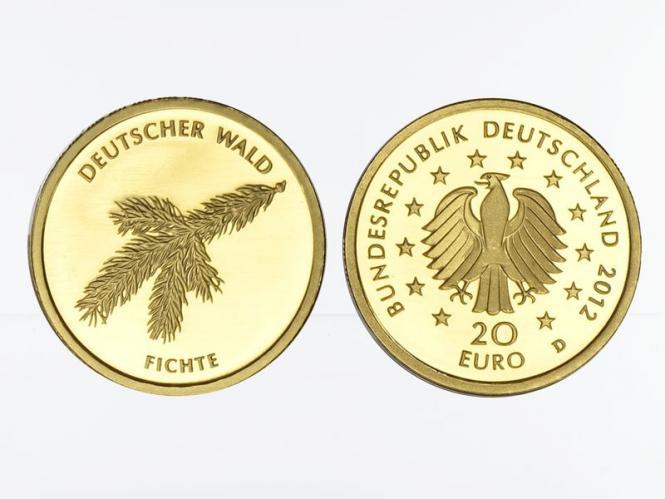 BRD 20 Euro Gold, 2012 D,  Deutscher Wald Fichte