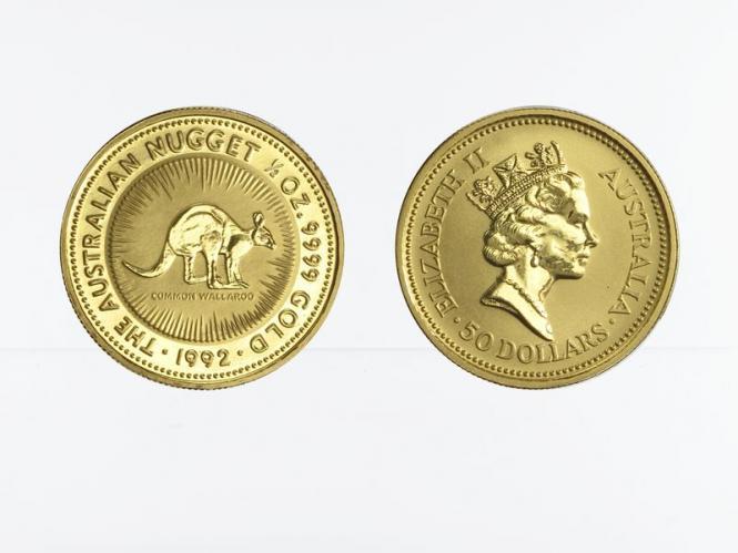 Australien 50 $ Nugget Känguru, 1/2 Unze  1992