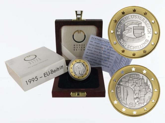 Österreich 500 Sh. Gold, 1995, EU Beitritt