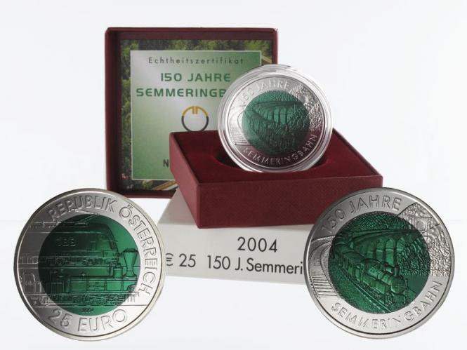 Österreich 25 Euro Niob, Semmeringbahn 2004