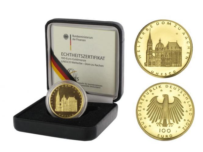 BRD 100 Euro Gold, 2012 D, Aachen, original