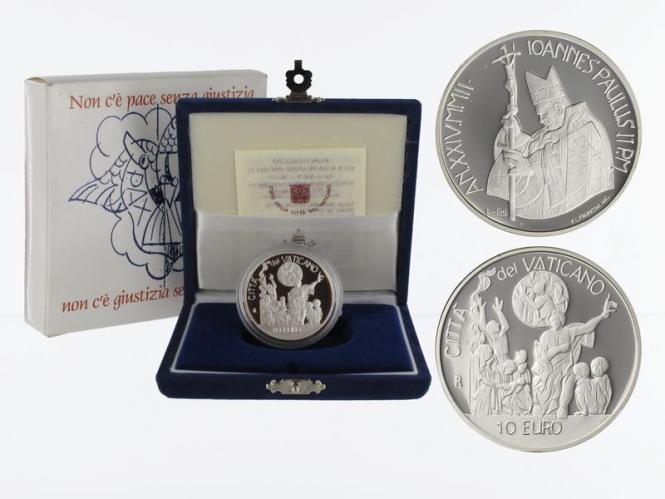 Vatikan 10 € Weltfriedenstage  2002 PP, Silber