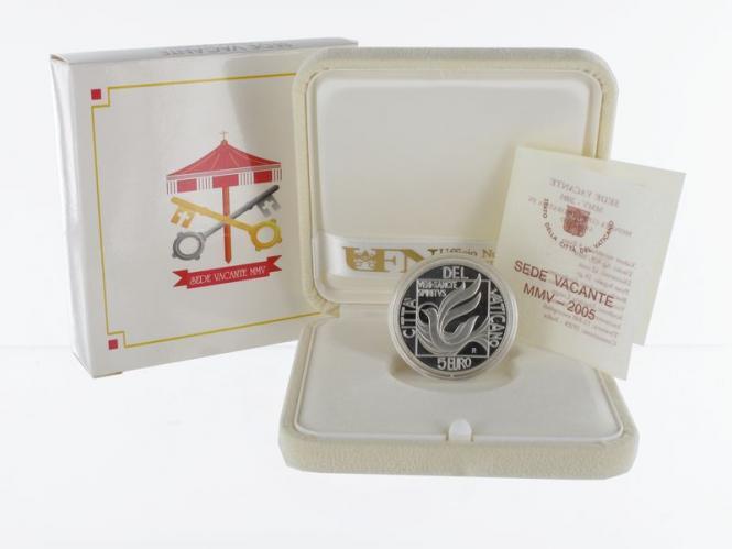 Vatikan 5 € Sede Vacante 2005 PP, Silber