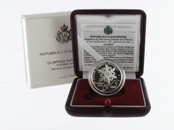 San Marino 5 € Olympiade Turin  2005 PP, Silber
