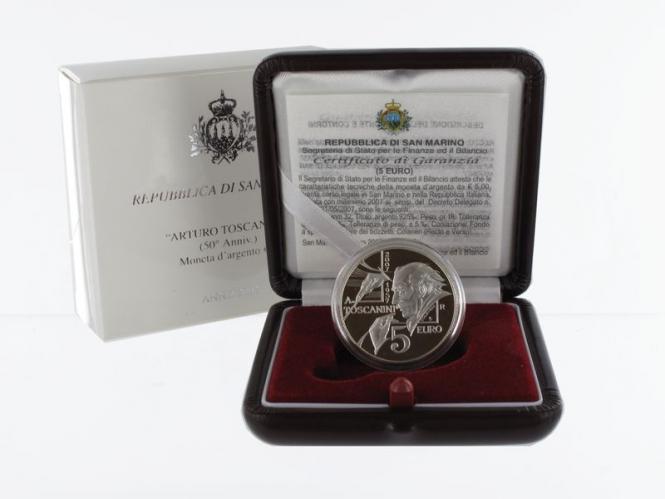 San Marino 5 € Arturo Toscanini  2007 PP, Silber