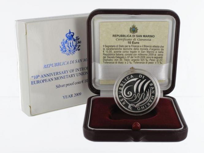 San Marino 10 € Währungsunion 2009 PP, Silber