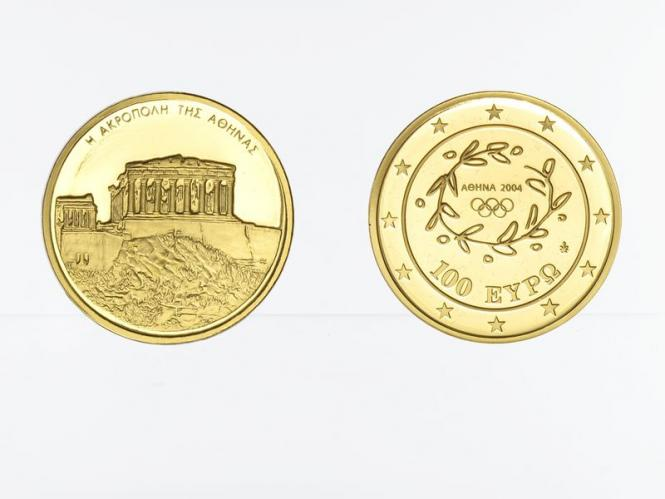 Griechenland 100 Euro Gold, 2004, Akropolis, original