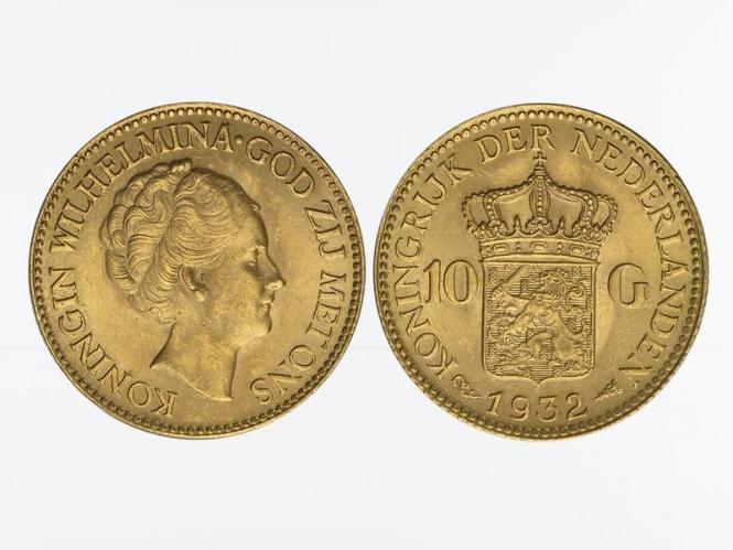 Niederlande 10 Gulden Gold Königin Wilhelmina I. 1932