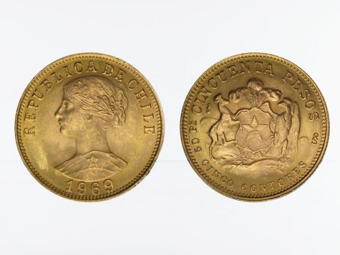 Chile 50 Pesos Freiheitskopf 1969