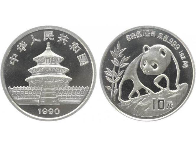 China 10 Yu Panda  1990 (Typ 2), 1 oz  Silber