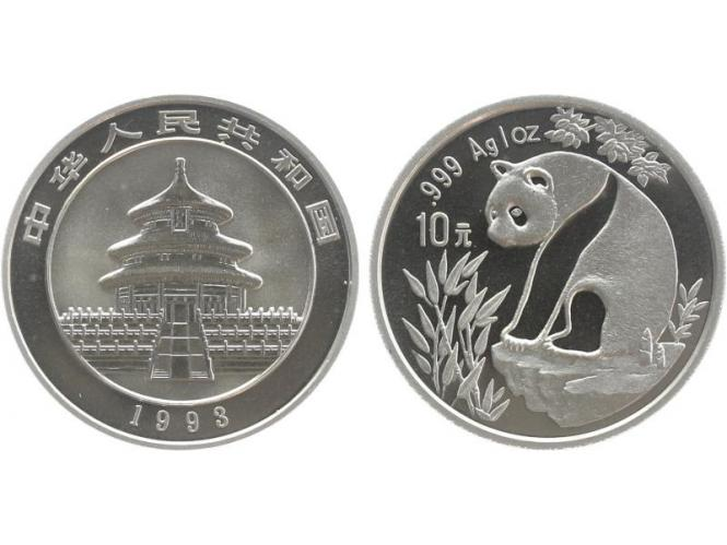 China 10 Yu Panda  1993 (Typ 1), 1 oz  Silber