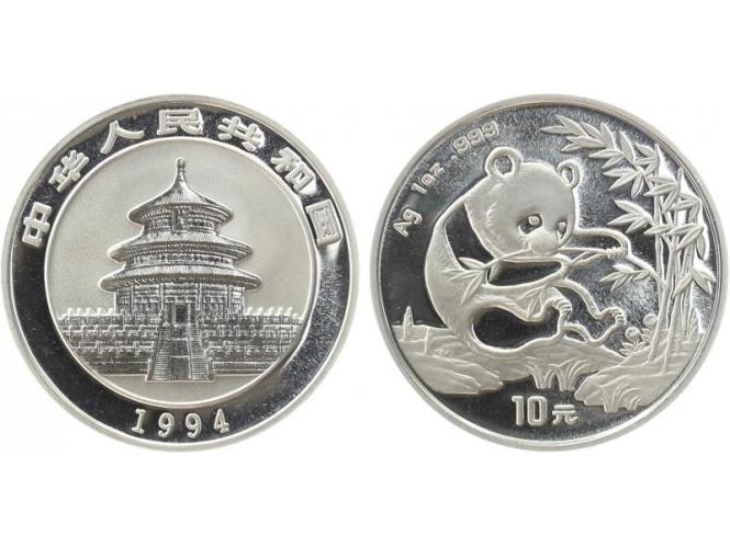 China 10 Yu Panda  1994 (Typ 2), 1 oz  Silber