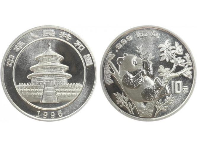 China 10 Yu Panda  1995 (Typ 2), 1 oz  Silber