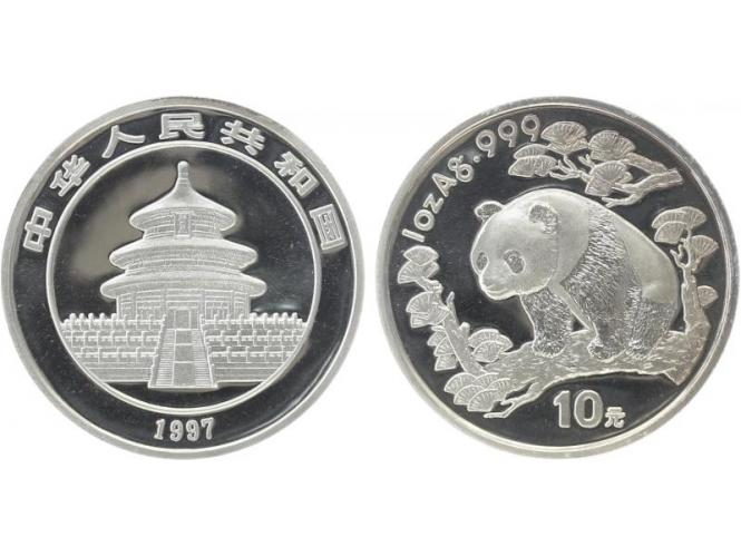 China 10 Yu Panda  1997 (Typ 2), 1 oz  Silber