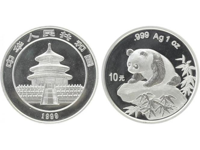 China 10 Yu Panda  1999 (Typ 2), 1 oz  Silber