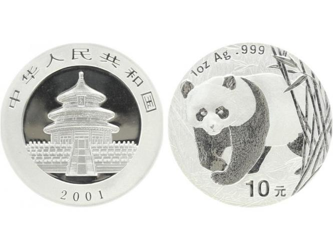 China 10 Yu Panda  2001, 1 oz  Silber