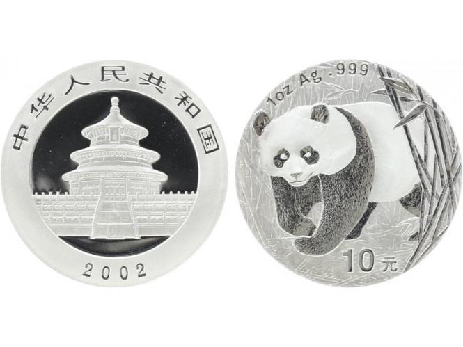 China 10 Yu Panda  2002, 1 oz  Silber