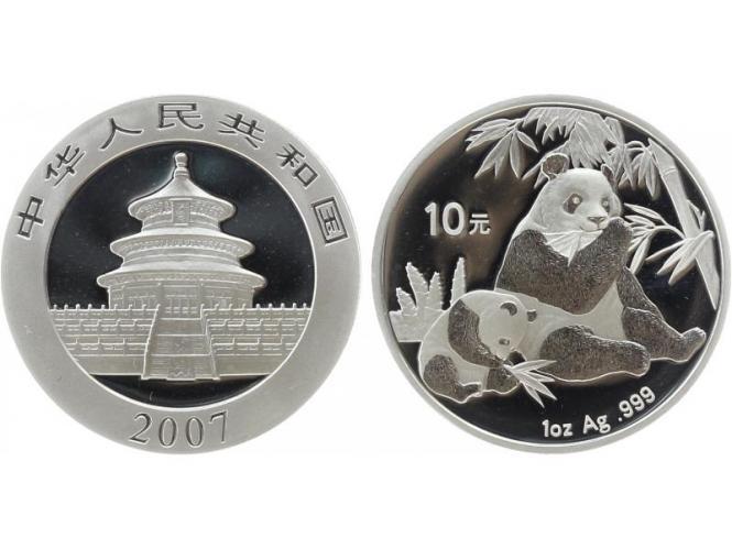 China 10 Yu Panda  2007, 1 oz  Silber
