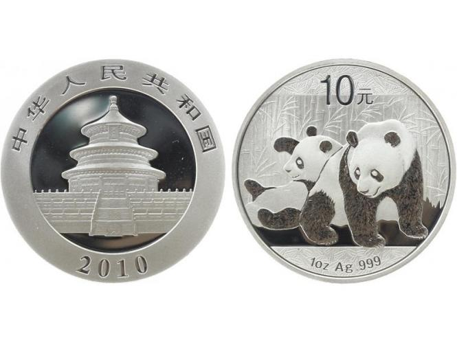 China 10 Yu Panda  2010, 1 oz  Silber