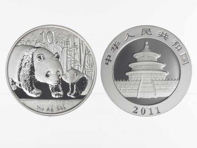 China 10 Yu Panda  2011, 1 oz  Silber