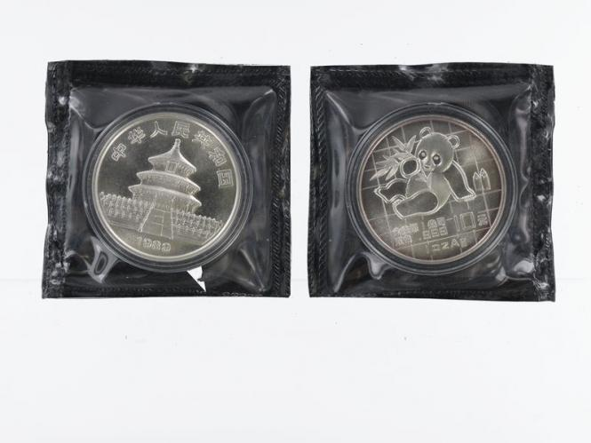 China 10 Yu Panda  1989, 1 oz  Silber Folie