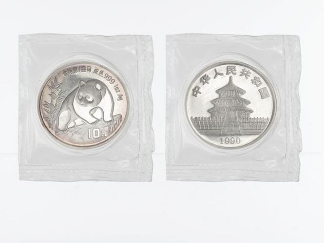 China 10 Yu Panda  1990 (Typ 1), 1 oz  Silber Folie