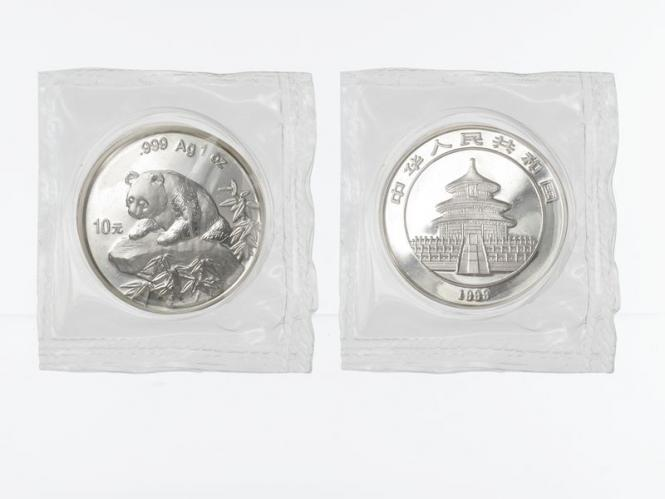 China 10 Yu Panda  1999 (Typ 2), 1 oz  Silber Folie