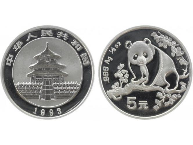 China 5 Yu Panda  1993  1/2 oz  Silber
