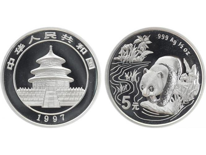 China 5 Yu Panda  1997 1/2 oz  Silber