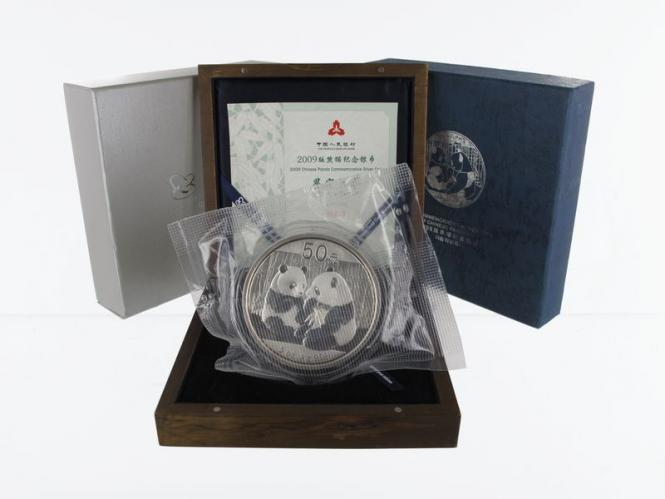 China 50 Yu Panda  2009 Box + CoA, 5 oz  Silber PP
