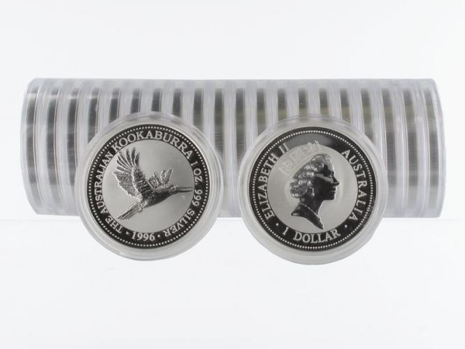Australien 1$ Kookaburra 1996, 20x 1 oz  Silber