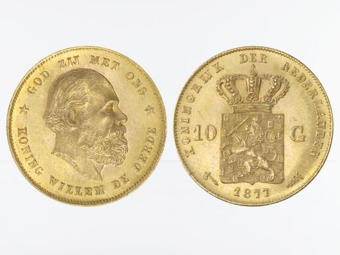 Niederlande 10 Gulden Gold König Willem III. 1877