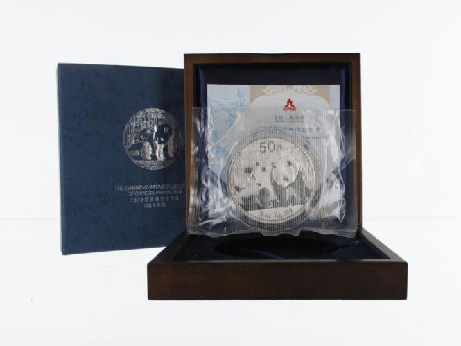 China 50 Yu Panda  2010 Box + CoA, 5 oz  Silber PP