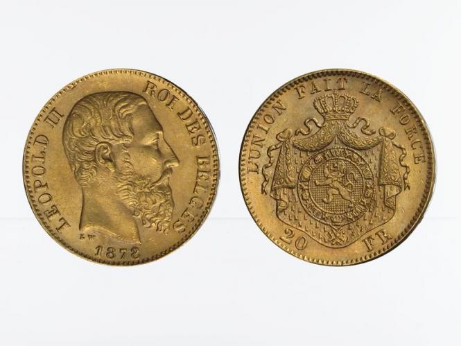 Belgien Leopold II  1878, 20 Francs Gold