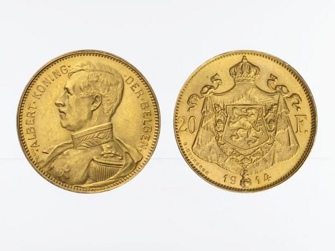 Belgien Albert  1914, 20 Francs Gold