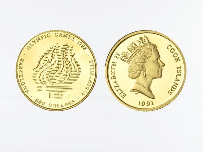 Cook Islands 1991, 250 $ Olympische Flamme, PP