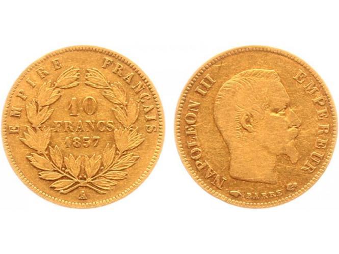 Frankreich 10 Fr. Napoleon III/ Kranz 1857 (A) Paris
