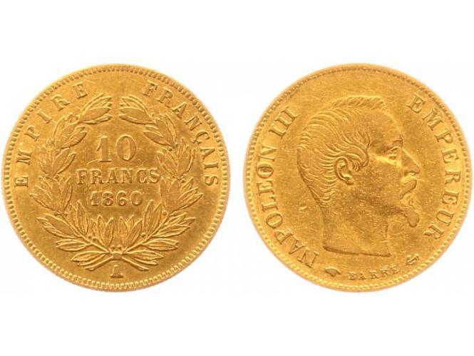 Frankreich 10 Fr. Napoleon III/ Kranz 1860 (A) Paris