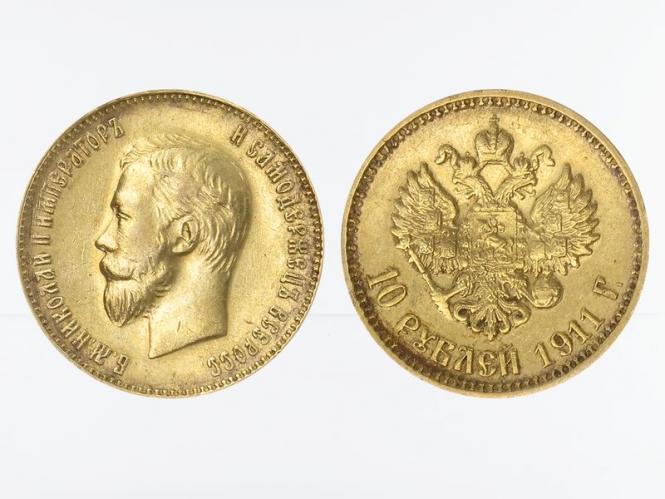 Russland 10 Rubel Nikolaus II,  1911