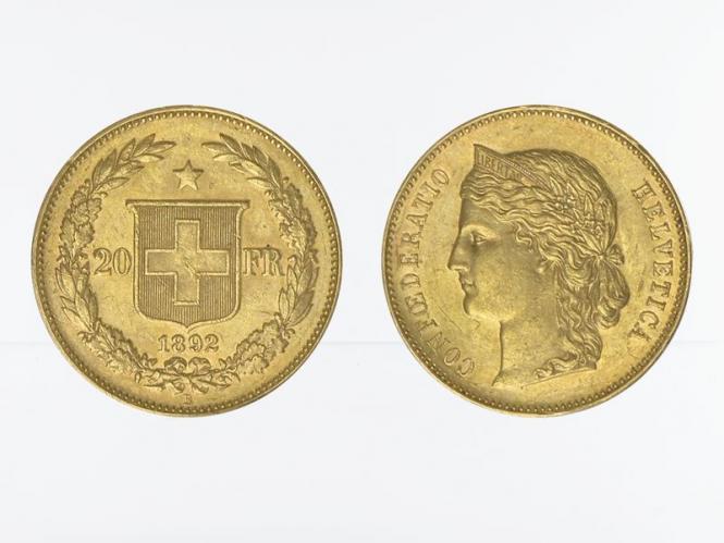 Schweiz 20 Franken Helvetia Goldmünze 1892