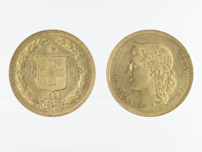 Schweiz 20 Franken Helvetia Goldmünze 1896